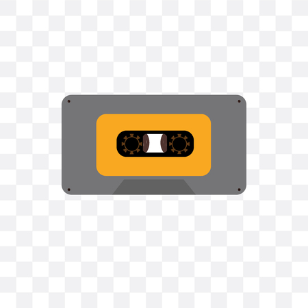 Cassette vector icon isolated on transparent background, Cassette concept 矢量图像