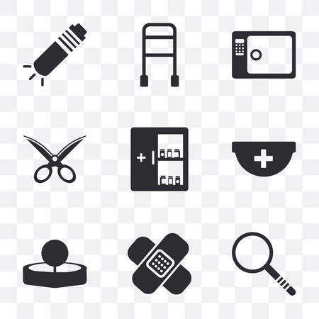 Set Of 9 simple transparency icons such as Investigation, Band aid, Head mirror, Pharmacy, Medicine cabinet, Gauze, Sterilization, Walker, Flashlight, can be used for mobile, pixel perfect vector Illustration