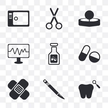 Set Of 9 simple transparency icons such as Dental, Scalpel, Pills, Monitor, Head mirror, Scissors, Sterilization, can be used for mobile, pixel perfect vector icon pack on