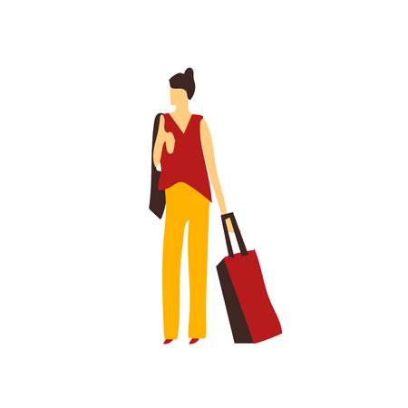 Woman with bag vector vector isolated on white background for your web and mobile app design, Woman with bag vector logo concept