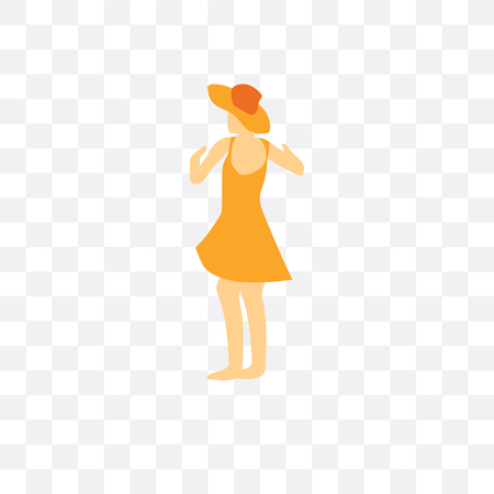 Dancing girl vector icon isolated on transparent background, Dancing girl logo concept