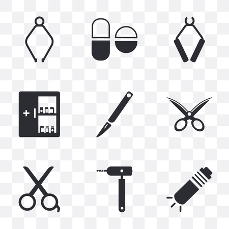 Set Of 9 simple transparency icons such as Flashlight, Otoscope, Scissors, Gauze, Scalpel, Medicine cabinet, Pliers, Pills, can be used for mobile, pixel perfect vector icon pack on