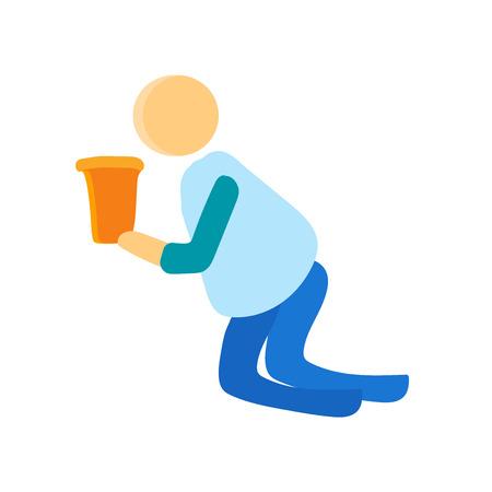 Pijany wektor ikona na białym tle na białym tle do projektowania aplikacji internetowych i mobilnych, osoba koncepcja logo pijany