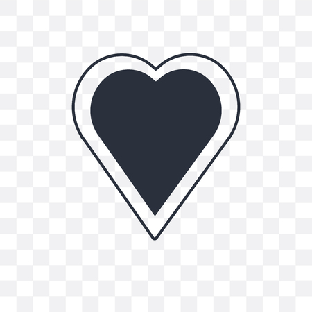 Heart black shape vector icon isolated on transparent background, Heart black shape logo concept