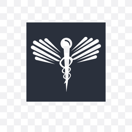 Caduceus medical vector icon isolated on transparent background, Caduceus medical logo concept