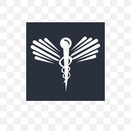 Caduceus medical vector icon isolated on transparent background, Caduceus medical logo concept
