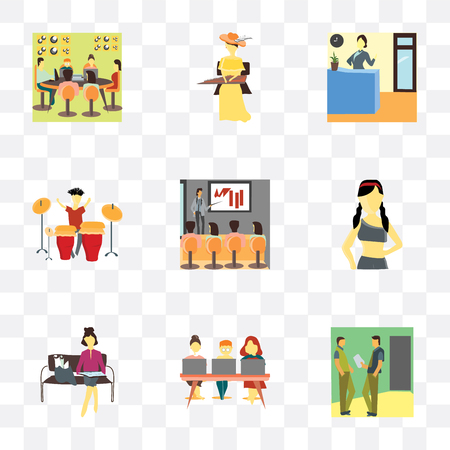 Set Of 9 simple transparency icons such as 2 Man talking business, People working with laptop, Girl reading papers, Beautiful girl, explaining work, Playing electronic drums, Reception of the