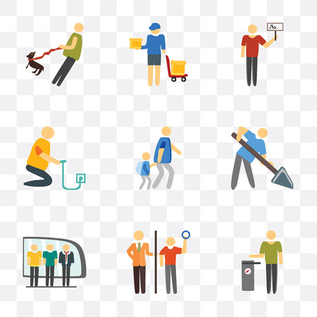 Set Of 9 simple transparency icons such as Trash, Ticket collector, Train, Worker, Walking to school, Charging, Protester, Delivery man, the dog, can be used for mobile, pixel perfect vector