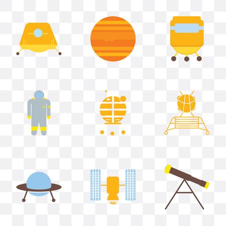 Set von 9 einfachen Transparenz-Symbolen wie Teleskop, Satellit, Ufo, Lander, Mondmodul, Astronaut, Raumkapsel, Jupiter, kann für mobile, pixelgenaue Vektor-Icon-Packs verwendet werden Vektorgrafik