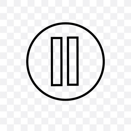 Icona di vettore del pulsante di pausa isolato su sfondo trasparente, concetto di logo del pulsante di pausa