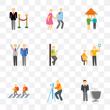 Set Of 9 simple transparency icons such as Voting, Photography, Kids, Pregnant priority, Smoking, Winner, Raining, Walking, Doorman, can be used for mobile, pixel perfect vector icon pack on
