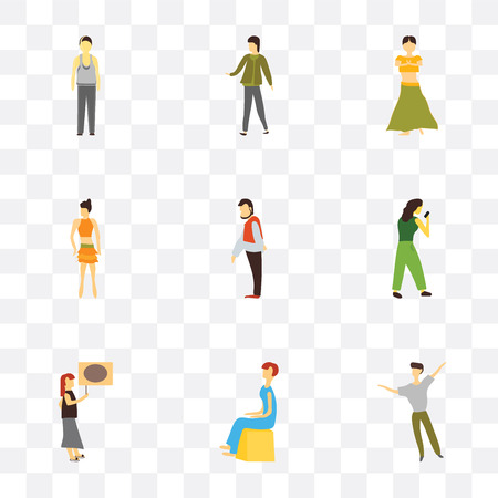 Set Of 9 simple transparency icons such as dancing man, Sitting woman, Woman holding message, Boxer girl, greeting Sexy girl standing, Indian dancer Walking Standing can be used