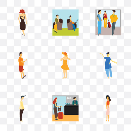 Set Of 9 simple transparency icons such as Standing woman, Woman travelling with bag, Man, indian boy dancing, Dancing girl, Man phone, Crowd of people talking, Persons sitting and
