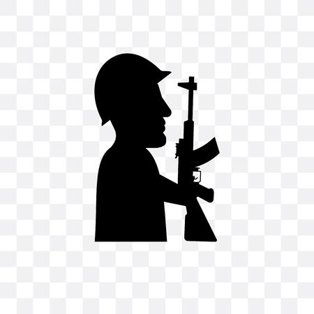 Icono de vector de soldado aislado sobre fondo transparente, concepto de logo de soldado