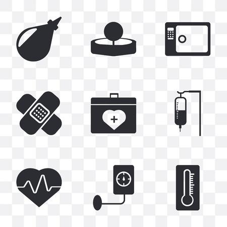 Ensemble de 9 icônes de transparence simples telles que thermomètre, pression artérielle, cardiogramme, SA, conteneur d'organes, pansement, stérilisation, miroir de tête, lavement, peuvent être utilisées pour l'icône vectorielle mobile, parfaite au pixel