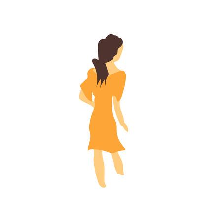 웹 및 모바일 응용 프로그램 디자인, 벡터 로고 개념을 걷는 여자에 대 한 흰색 배경에 고립 된 벡터 벡터를 걷는 여자