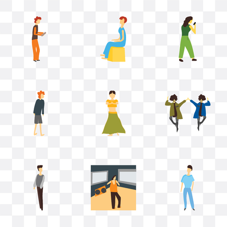 Set Of 9 simple transparency icons such as Standing boy, Man watching TV, man, 2 men natinal dancing, Indian dancer girl, standing woman, Boxer Sitting Boy playing with phone,