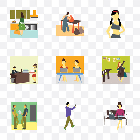Set Of 9 simple transparency icons such as Girl reading papers, Man taking selfie, 2 talking business, playing cellos, Girls coworking, People working in the office, Beautiful girl, Person