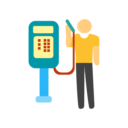 Public phone icon vector isolated on white background for your web and mobile app design, Public phone logo concept person