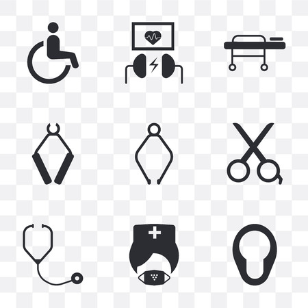 Set Of 9 simple transparency icons such as Bedpan, Mask, Phonendoscope, Scissors, Pliers, Stretcher, Defibrillator, Wheelchair, can be used for mobile, pixel perfect vector icon pack on