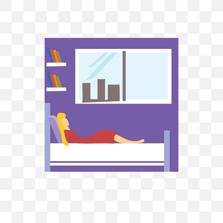 Girl sleeping in the bed vector icon isolated on transparent background, Girl sleeping in the bed logo concept Vettoriali