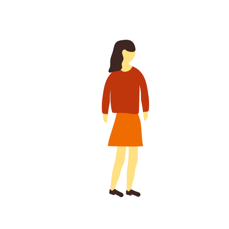 Standing girl vector vector isolated on white background for your web and mobile app design, Standing girl vector logo concept