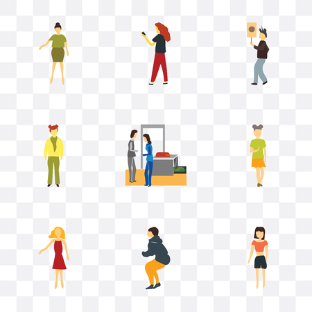 Set Of 9 simple transparency icons such as Beautiful standing girl, Woman exercising fitness, Standing woman, Couples, Person holding message, with