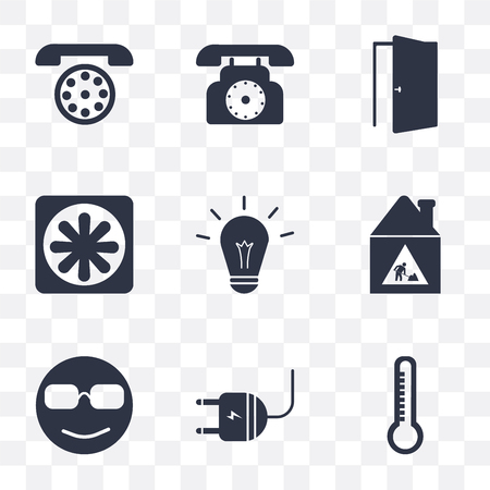 Set Of 9 simple transparency icons such as Temperature, Plug, Cool, Construction, Light, Cooler, Door, Dial, can be used for mobile, pixel perfect vector icon pack on transparent background Illustration