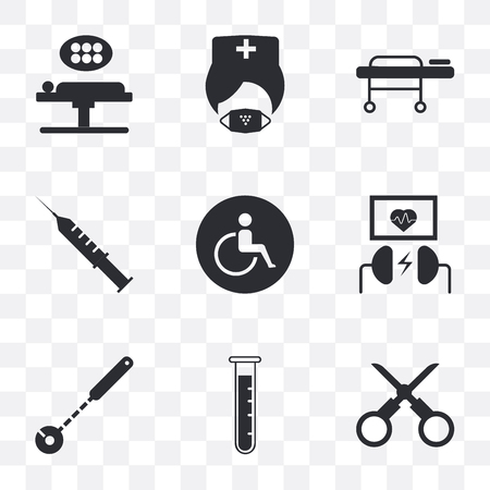 Set Of 9 simple transparency icons such as Scissors, Test tube, Mirror, Defibrillator, Wheelchair, Syringe, Stretcher, Mask, Operating table, can be used for mobile, pixel perfect vector icon pack on