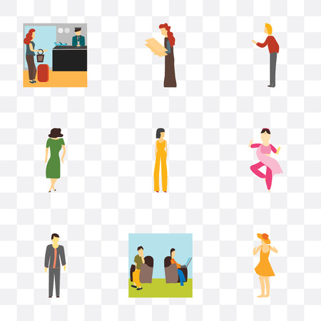 Set Of 9 simple transparency icons such as Dancing girl, Persons sitting and working, Standing boy, indian girl dancing, Beautiful woman, Woman greeting, holding message, Illustration