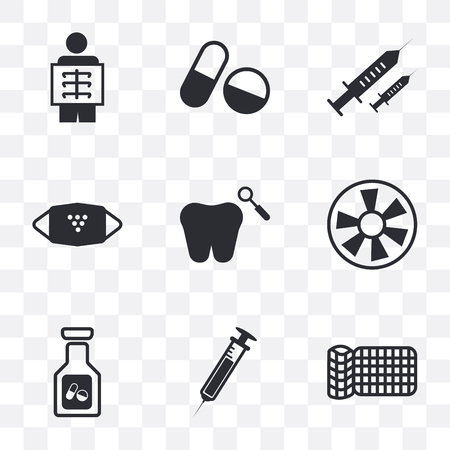 Set Of 9 simple transparency icons such as Equipment, Needle, Pills, Turbine, Dental, Mask, Syringe needle, X ray, can be used for mobile, pixel perfect vector icon pack on transparent