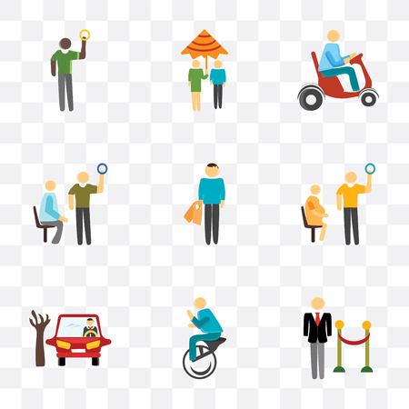 Set Of 9 simple transparency icons such as Doorman, Unicycle, Parking, Pregnant priority, Shopper, Public transport, Scooter, Raining, can be used for mobile, pixel perfect vector