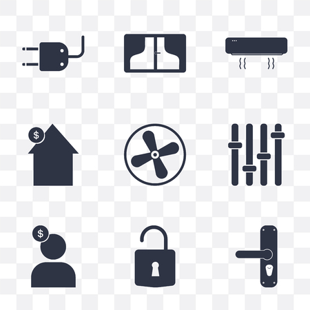 Set Of 9 simple transparency icons such as Handle, Unlock, Seller, Panel, Fan, House, Air conditioner, Window, Plug, can be used for mobile, pixel perfect vector icon pack on transparent background Çizim