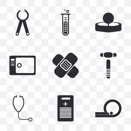 Set Of 9 simple transparency icons such as Tomography, Medical history, Stethoscope, Hammer, Band aid, Sterilization, Head mirror, Test tube, Pliers, can be used for mobile, pixel perfect vector icon