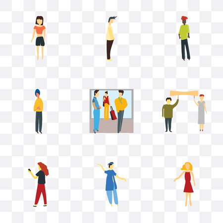 Set Of 9 simple transparency icons such as Standing woman, indian boy dancing, Woman with phone, People holding message, Crowd of people talking, man, Black Man, Beautiful