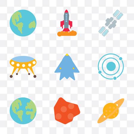 Conjunto de 9 iconos de transparencia simple como Saturno, asteroide, planeta tierra, sistema solar, nave espacial, estación, se puede utilizar para móviles, vector de píxeles perfectos