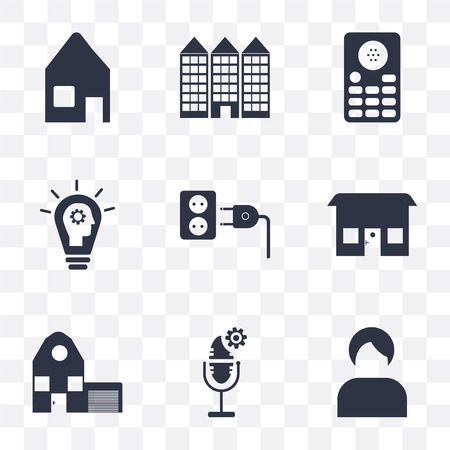 Set Of 9 simple transparency icons such as Seller, Voice control, Home, Plug, Smart, Intercom, Building, Heating, can be used for mobile, pixel perfect vector icon pack on transparent