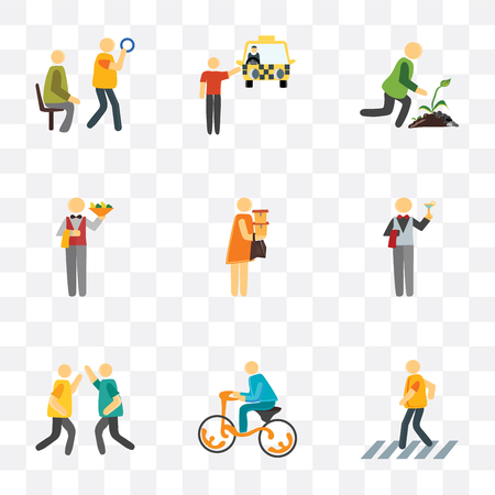 Set Of 9 simple transparency icons such as Pedestrian, Bicycle, Party, Waiter, Shopper, Gardening, Cab, Public transport, can be used for mobile, pixel perfect vector icon pack on transparent Vettoriali