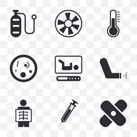 Set Of 9 simple transparency icons such as Bandage, Needle, X ray, Inhaler, Incubator, Bacteria, Thermometer, Turbine, Oxygen, can be used for mobile, pixel perfect vector icon pack on transparent