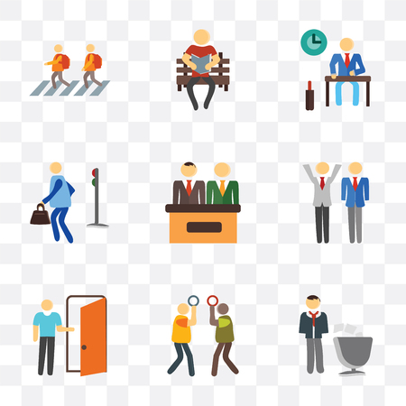 Set Of 9 simple transparency icons such as Voting, Silence, Exit, Winner, Info, Pedestrian, Work, Reading, Kids, can be used for mobile, pixel perfect vector icon pack on transparent background 向量圖像