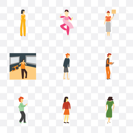 Set Of 9 simple transparency icons such as Dancing woman, Standing girl, dancing man, Boy playing with phone, standing Man watching TV, Woman holding message, indian girl dancing, Beautiful