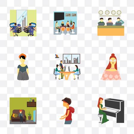 Set von 9 einfachen Transparenzsymbolen wie Mädchen, das Klavier spielt, kleiner Junge geht, Kinder fernsehen, schönes Mädchen, Geschäftsgespräche im Büro, Mädchen, Leute, die arbeiten, Familie beim Mittagessen