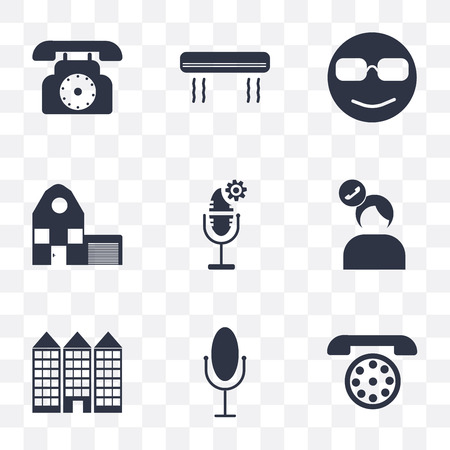 Set Of 9 simple transparency icons such as Dial, Voice control, Building, Seller, Home, Cool, Air conditioner, can be used for mobile, pixel perfect vector icon pack on