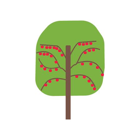 Vecteur d'icône d'arbre fruitier isolé sur fond blanc pour la conception de votre application web et mobile, concept de logo d'arbre fruitier Logo