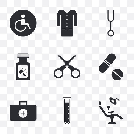 Set Of 9 simple transparency icons such as Dentist chair, Test tube, Doctor briefcase, Pills, Scissors, Vial, Tuning fork, Lab coat, Wheelchair, can be used for mobile, pixel perfect vector icon pack Illustration