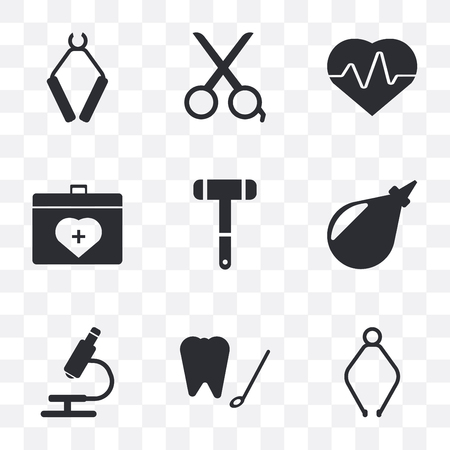 Set Of 9 simple transparency icons such as Pliers, Dental hook, Microscope, Enema, Neurology reflex hammer, Organ container, Cardiogram, Scissors, can be used for mobile, pixel perfect vector