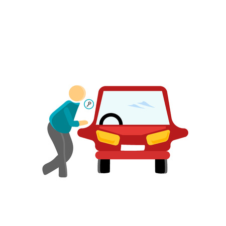 Locked car icon vector isolated on white background for your web and mobile app design, Locked car logo concept person