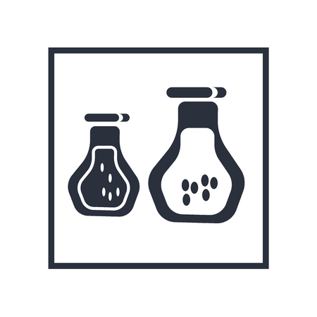 Chemistry flask with liquid icon vector isolated on white background for your web and mobile app design, Chemistry flask with liquid logo concept