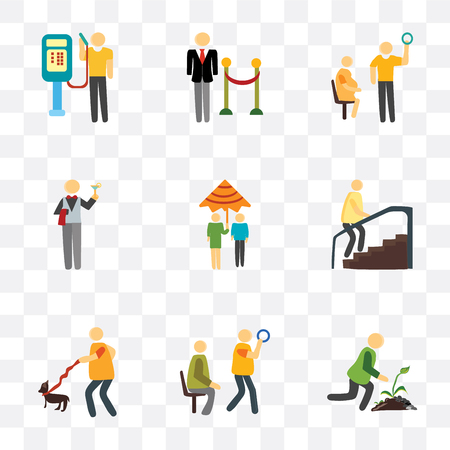 Set Of 9 simple transparency icons such as Gardening, Public transport, Walking the dog, Stairs, Raining, Waiter, Pregnant priority, Doorman, phone, can be used for mobile, pixel perfect