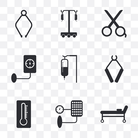 Set Of 9 simple transparency icons such as Stretcher, Blood pressure, Thermometer, Pliers, Sa, Scissors, Hanger, can be used for mobile, pixel perfect vector icon pack on